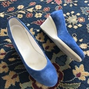 Hogan Blue Suede Wedge Heels Pumps Color Bloc